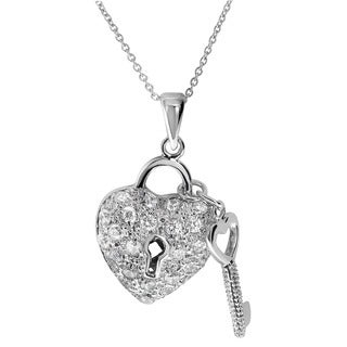 Journee Collection Sterling Silver Cubic Zirconia Heart and Key Necklace