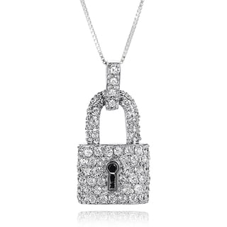 Journee Collection Sterling Silver Cubic Zirconia Lock Necklace