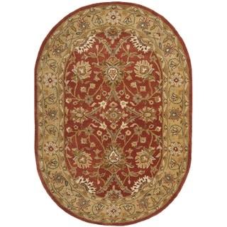 Safavieh Handmade Kerman Rust/ Gold Wool Rug (7'6 x 9'6 Oval)