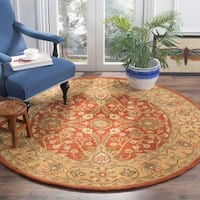 Safavieh Handmade Kerman Rust/ Gold Wool Rug - 6' Round