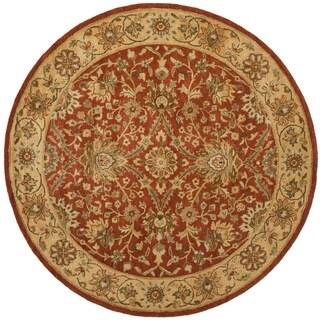 Safavieh Handmade Kerman Rust/ Gold Wool Rug (8u0027 Round)