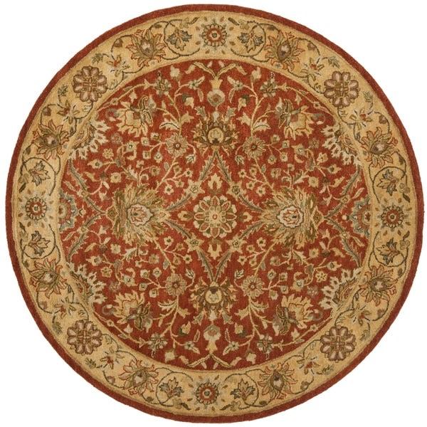 Safavieh Handmade Kerman Rust/ Gold Wool Rug (8' Round)
