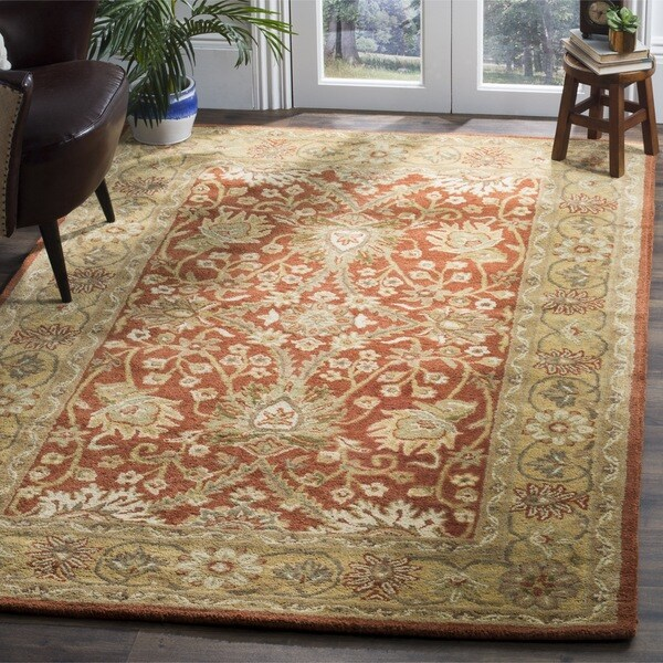 Safavieh Handmade Kerman Rust Gold Wool Rug 7 6 X 9 6
