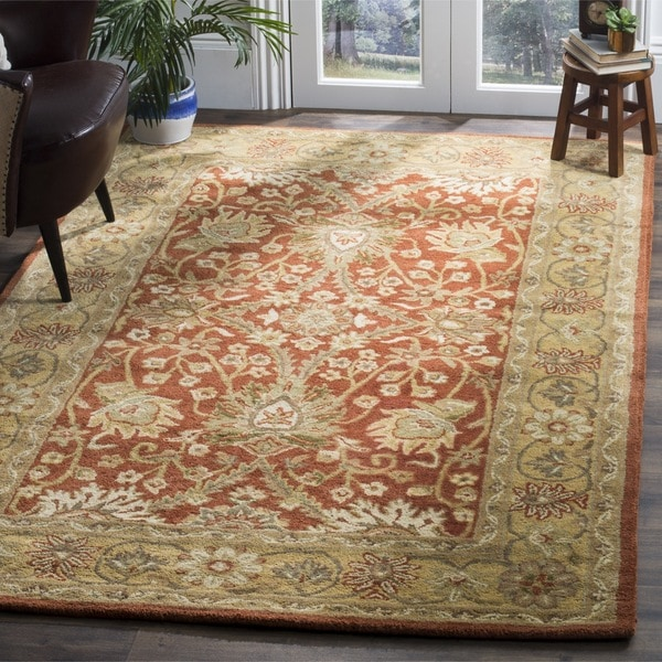Safavieh Handmade Kerman Rust/ Gold Wool Rug (8'3 x 11')