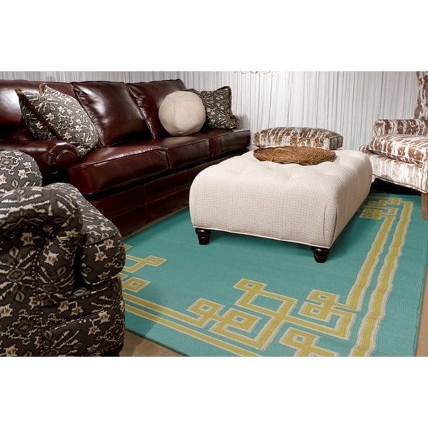 Hand-woven Ahren Reversible Sky Blue Wool Area Rug - 5' x 8'