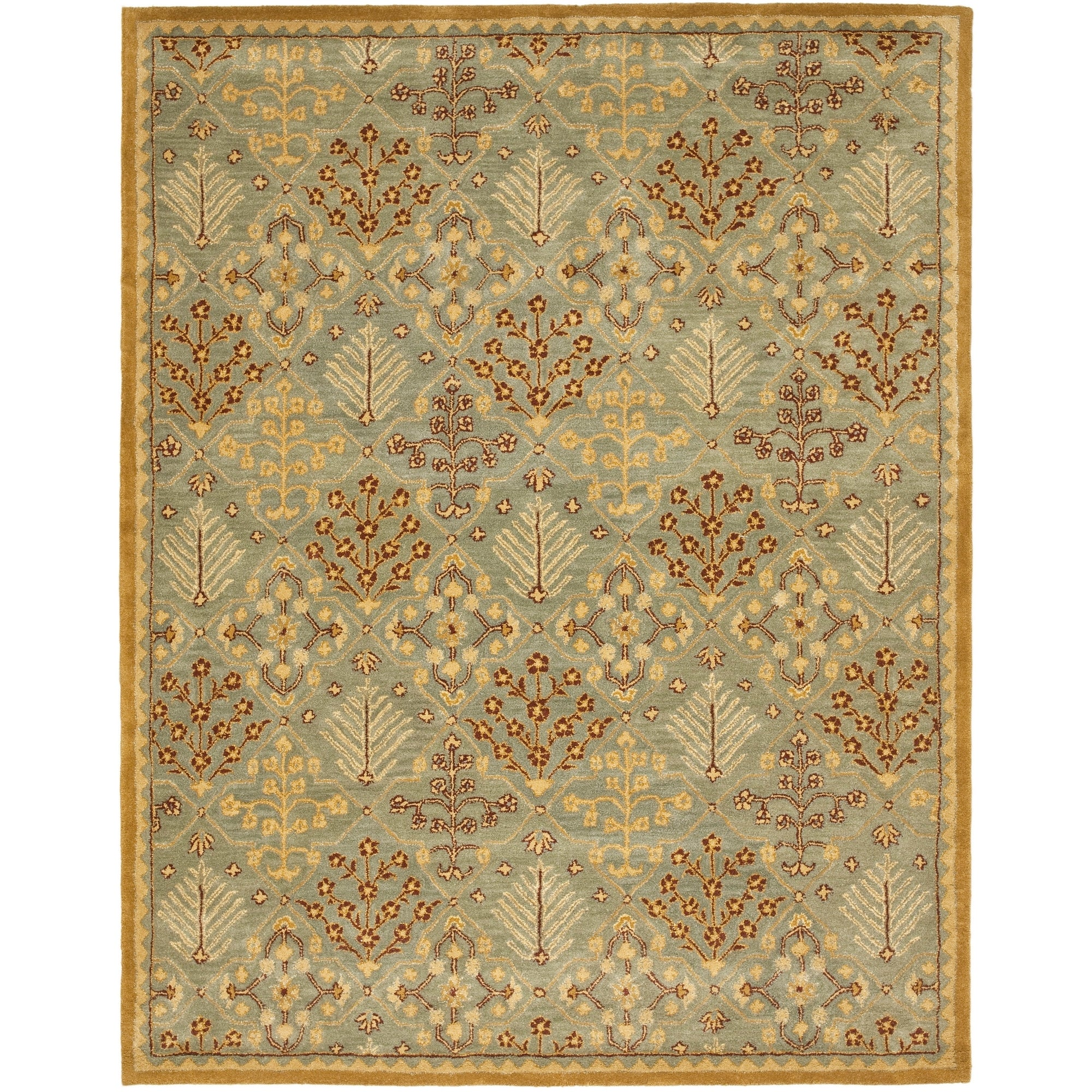Handmade Antiquities Light Blue/ Gold Wool Rug (9 X 12)