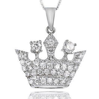 Journee Collection Sterling Silver Cubic Zirconia Crown Necklace
