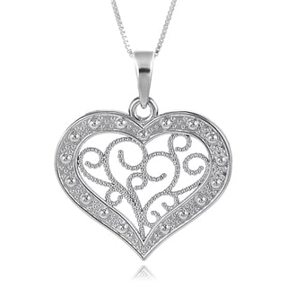 Journee Collection Silvertone Heart Necklace