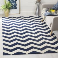 Safavieh Handmade Moroccan Chatham Chevron Dark Blue Wool Rug (8'9 Square)
