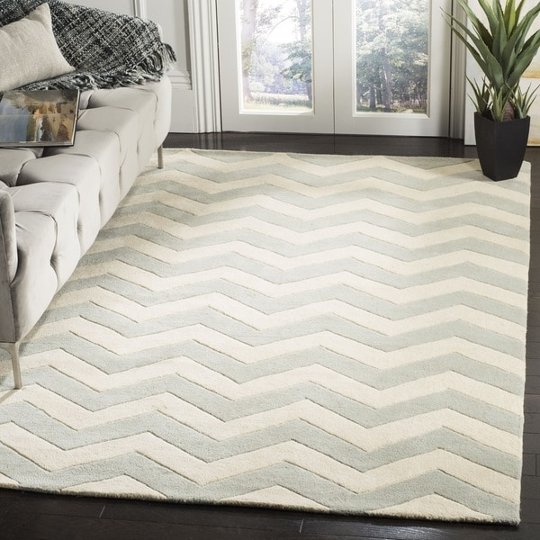 Shop Safavieh Handmade Moroccan Chatham Chevron Blue Grey