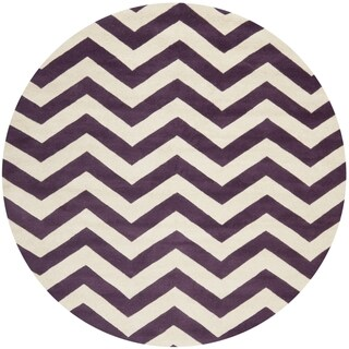Safavieh Handmade Moroccan Chatham Chevron Purple Wool Rug (5' Round)