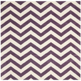 Safavieh Handmade Moroccan Chatham Chevron Purple Wool Rug (5' Square)