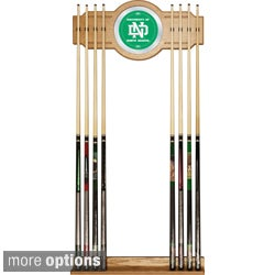 Officially Licensed NCAA Wood-and Mirror Wall Cue Rack with Eight-Cue Capacity