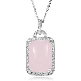 Journee Collection Sterling Silver Rose Quartz and Cubic Zirconia Necklace