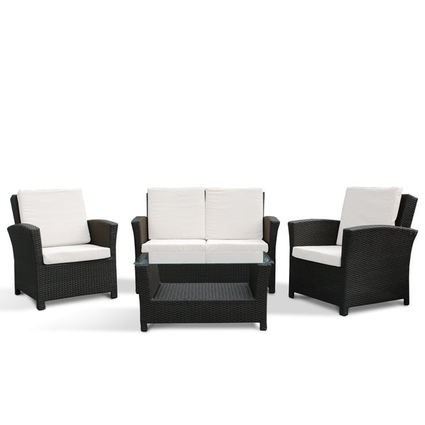 & 4 Piece Outdoor Wicker Conversaton Sofa Set - PARADISO - DC &