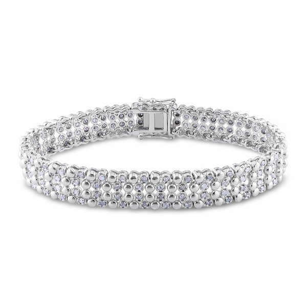 Miadora Sterling Silver 2ct TDW Diamond Tennis Bracelet
