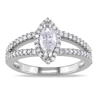 Miadora 14k White Gold 4/5ct TDW Marquise Diamond Ring (G-H, I1-I2)