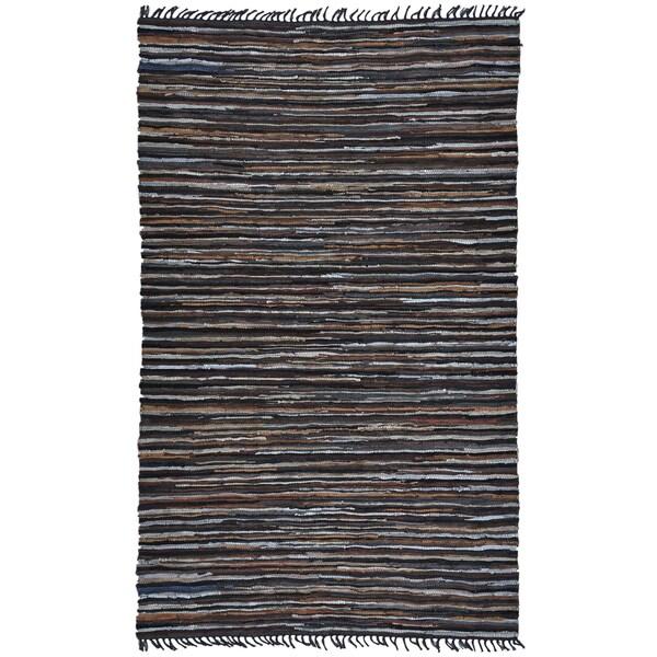 Hand-Woven Matador Brown Stripe Leather Rug (8' x 10')