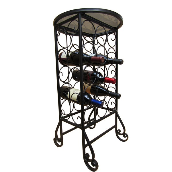 Shop 15 Bottle Glass Top Iron Wine Rack On Sale Free Shipping