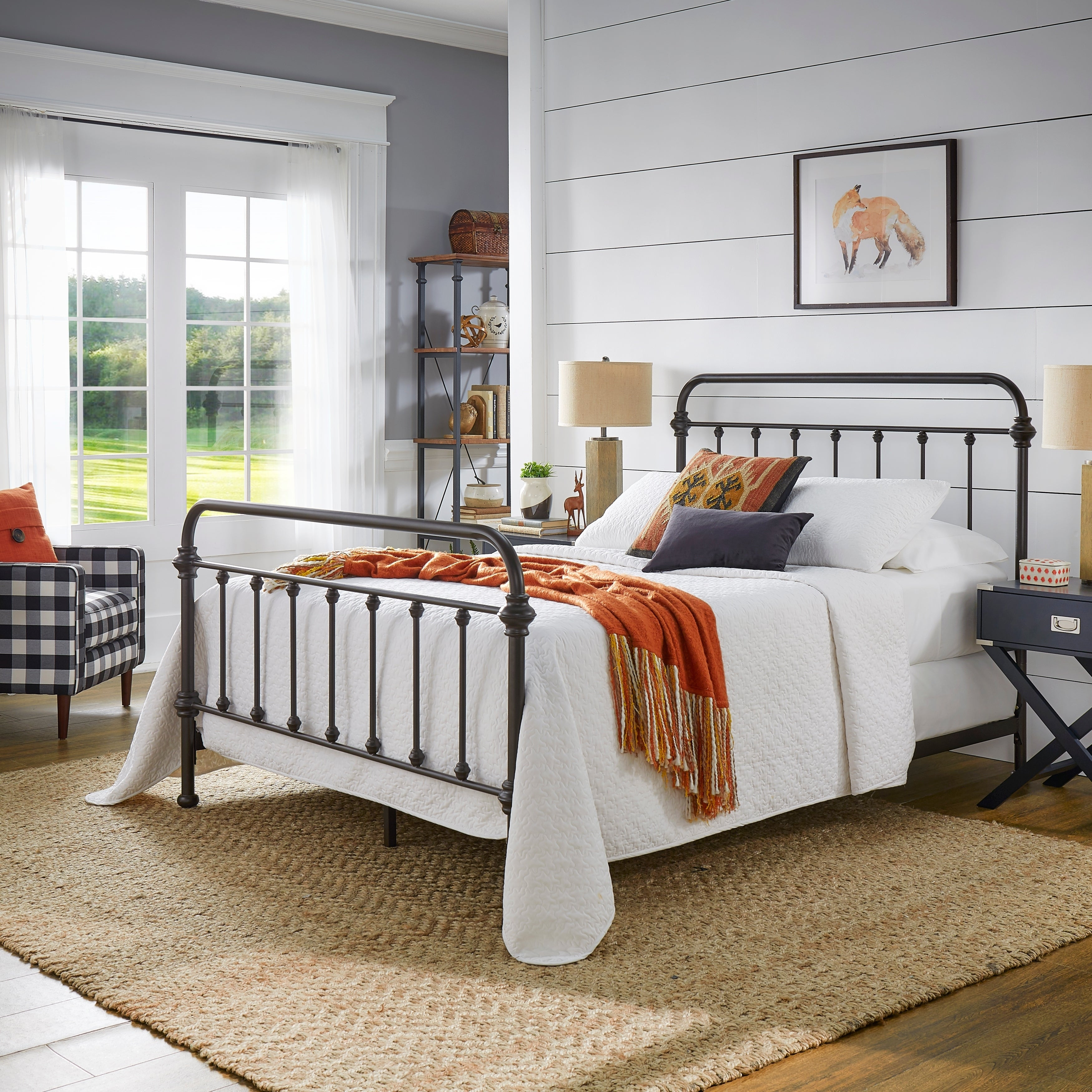 Queen Size Headboards Only Smooth Finish Iron Rustic Antique Metal Bed Frame NEW
