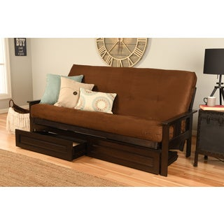 Clay Alder Home DeSoto Espresso Full-size Wood Storage Futon with Mattress