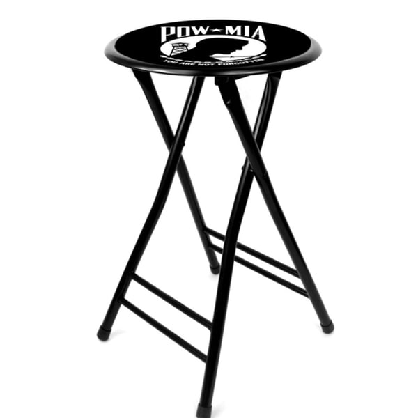 POW Black 24-inch Cushioned Folding Stool
