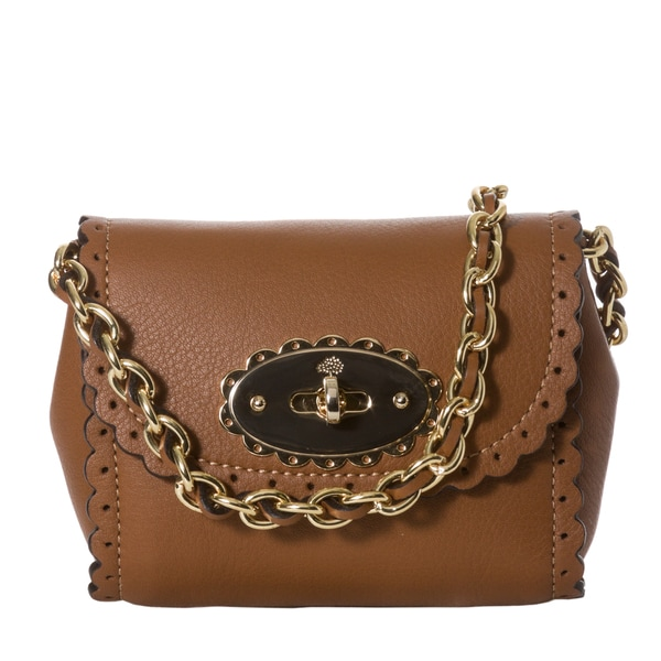 Mulberry 'Cookie' Mini Oak Leather Scalloped Crossbody Bag