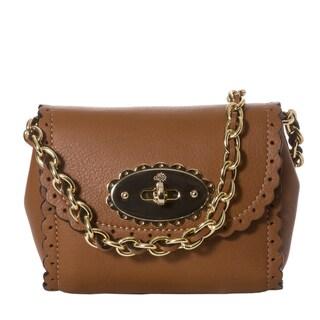 Mulberry 'Cookie' Mini Oak Leather Scalloped Crossbody Bag