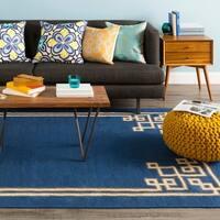 Hand-woven Aiken Flatweave Reversible Sapphire Blue Wool Area Rug - 3'3 x 5'3