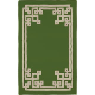Hand-woven Aimery Flatweave Reversible Spinach Green Wool Rug (3'3 x 5'3)