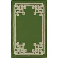 Hand-woven Aimery Flatweave Reversible Spinach Green Wool Area Rug - 3'3 x 5'3