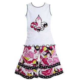 AnnLoren Girls' Floral Fleur De Lis Tunic/ Capri Outfit