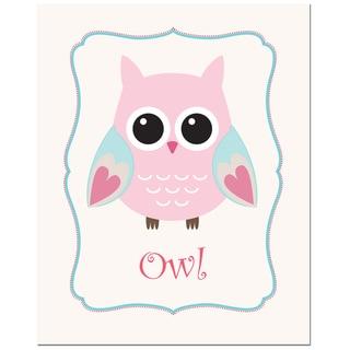 Light Pink Solid Color Owl in Frame Art Print