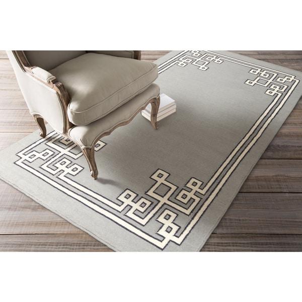 Hand-woven Aitan Flatweave Reversible Dove Grey Wool Area Rug - 5' x 8'