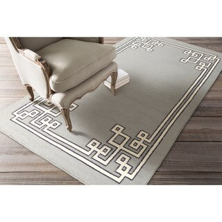 Hand-woven Aitan Flatweave Reversible Dove Grey Wool Rug (5' x 8')