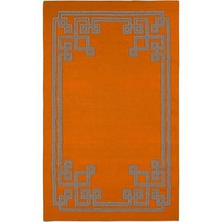 Beth Lacefield Hand-woven Ajani Flatweave Reversible Pumpkin Wool Rug (5' x 8')