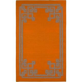 Hand-woven Ajani Flatweave Reversible Pumpkin Wool Rug (5' x 8')