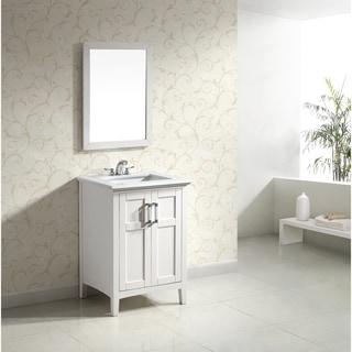 WYNDENHALL Salem White 2-door 24-inch Bath Vanity Set with White Quartz Marble Top