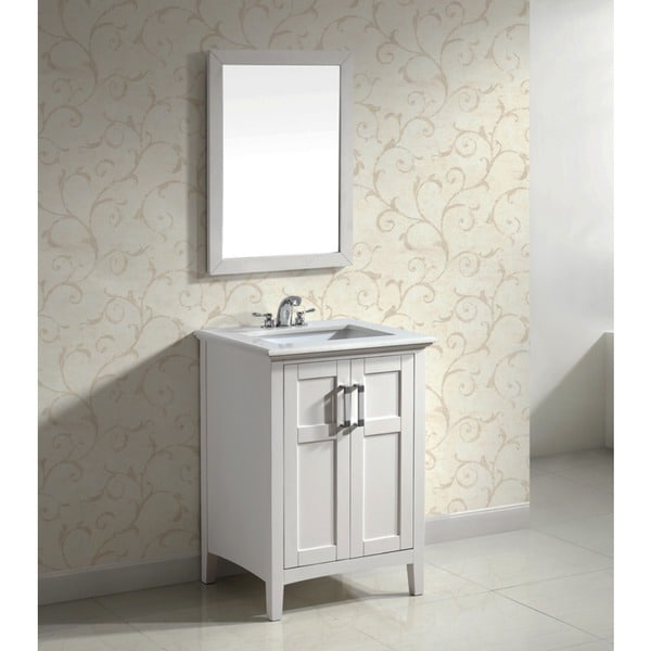 Shop Wyndenhall Salem White 2 Door 24 Inch Bath Vanity Set With White Quartz Marble Top Free