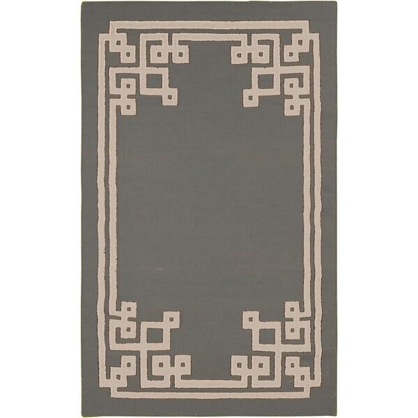 Hand-woven Aitan Flatweave Reversible Dove Grey Wool Area Rug - 8' x 11'