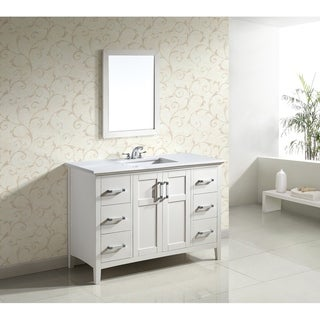 WYNDENHALL Salem 48 inch Contemporary Bath Vanity in Soft White with Bombay White Engineered Quartz Marble Top