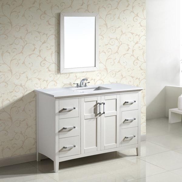 Wyndenhall Salem White 2 Door 48 Inch Bath Vanity Set With White Quartz Marble Top Free