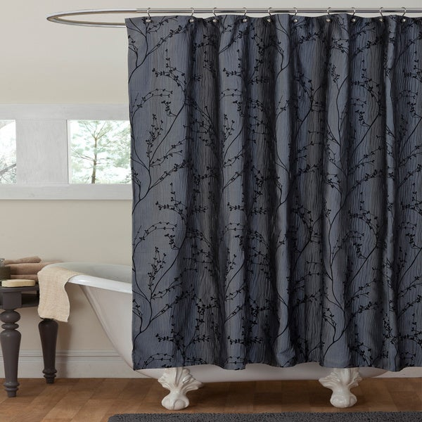 Lush Decor Flower Texture Gray Shower Curtain - Free Shipping On ...