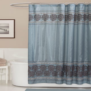 Shop Lush Decor Royal Dynasty Blue Brown Shower Curtain