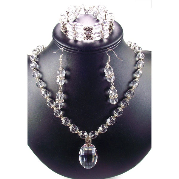 Silverplated Clear Crystal Pendant Wedding Jewelry Set