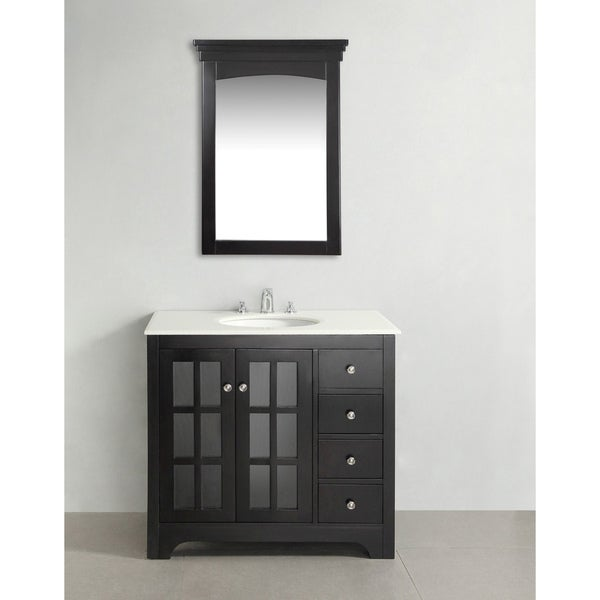 WYNDENHALL Louisiana Black 36-inch Bath Vanity with 2 Doors and White Marble Top