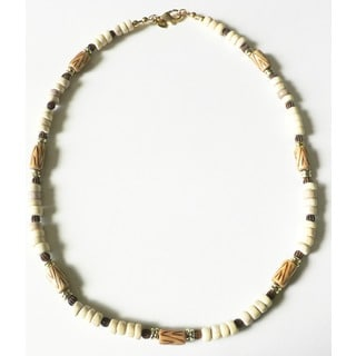 "El Camino' Sea Urchin Wood and Bone 19"" Men's Necklace"