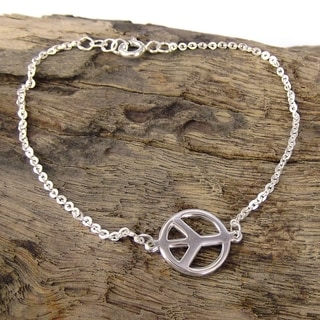 Sterling Silver Single Peace Sign Link Bracelet (Thailand)