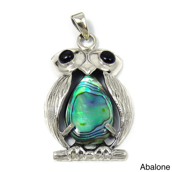 Handmade Sterling Silver Unique Owl Bird Gemstone Centered Pendant (Thailand)
