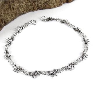 Handmade Sterling Silver Petite Walking Unicorn Link Bracelet (Thailand)